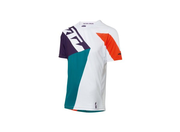 Cyklistický dres KTM Factory ENDURO 2021 white/petrol/orange